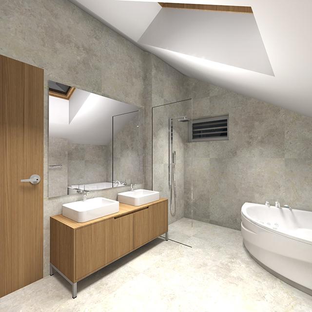 Баня под покрива с вана и душ-кабина