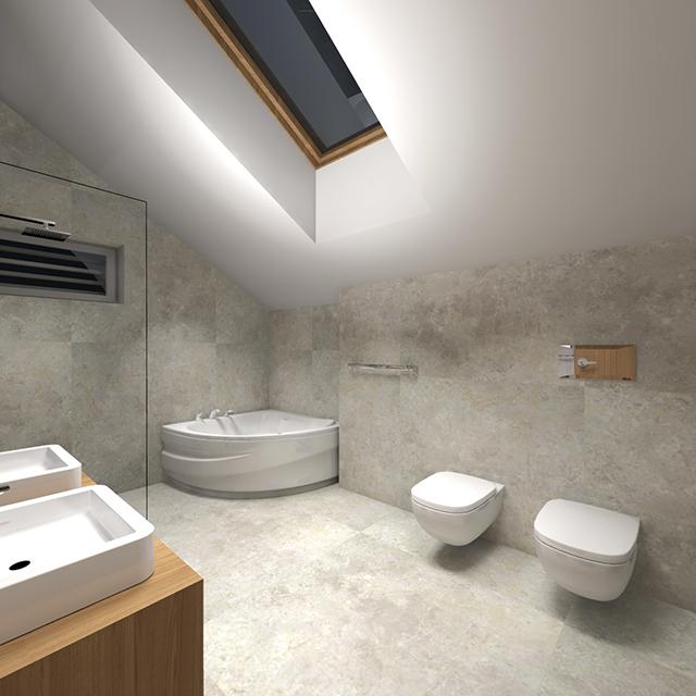 Общата баня с вана и двойна мивка