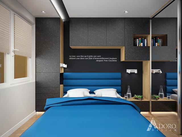На стената зад леглото са разположени шкафове за съхранение на вещи