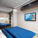 Скрито осветление очертава тавана и габаритите на леглото