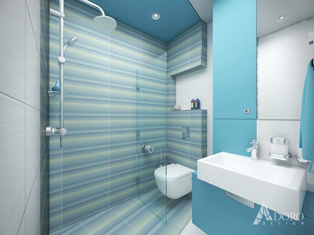 Банята е обзаведен с кът за душ