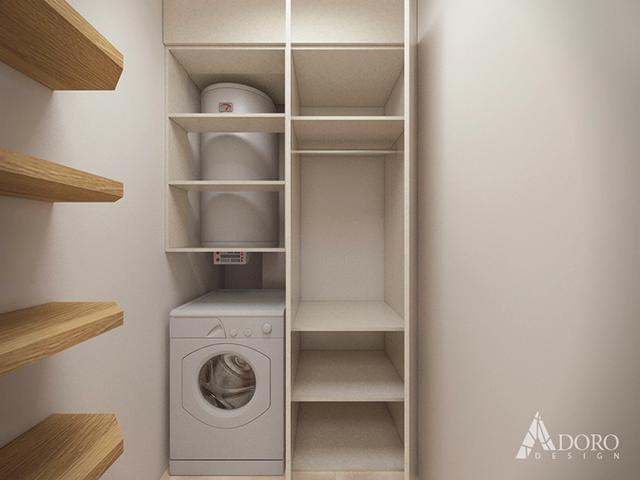 Мокро помещение с пералня, бойлер и шкафове