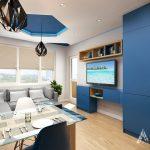 Синьо, бяло, черно и дървесен декор оформят цветовата концепция