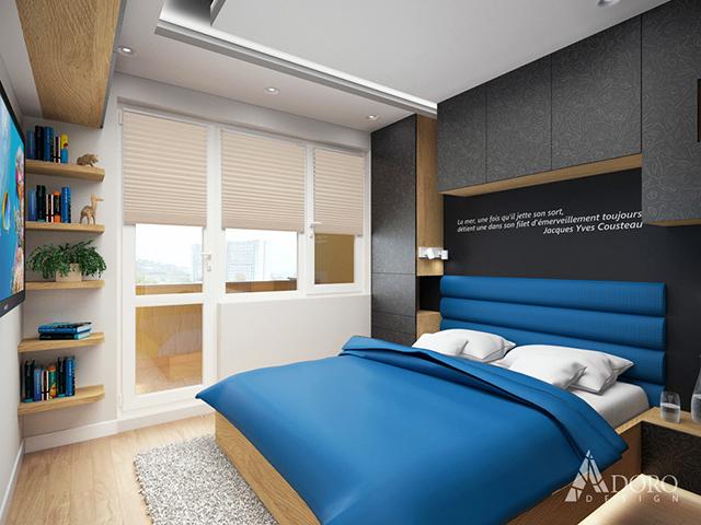 Спалня е решена също в синьо, бяло и черно