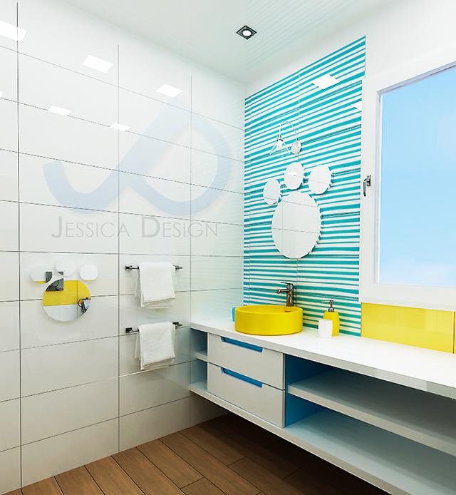 Интериорен проект на баня в свежите цветове на лятото