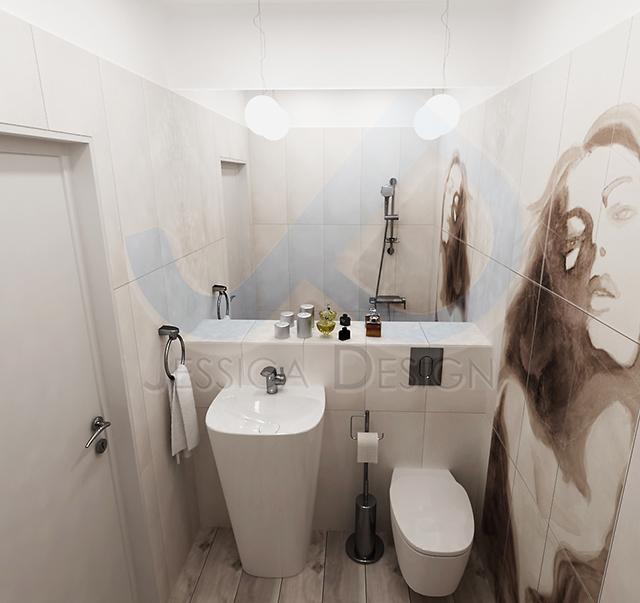 Банята е с висока мивка от колекцията Деа на Идеал Стандарт и декоративно пано с женски образ