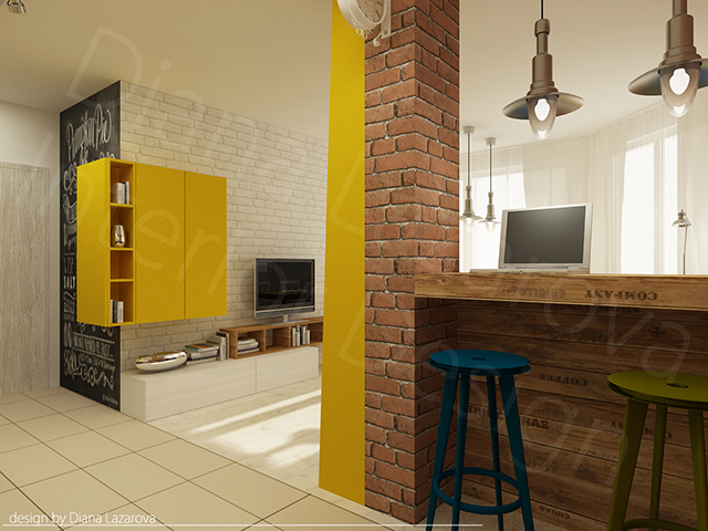 Колоната е облицована с тухлички и жълта етажерка по цялата й височина