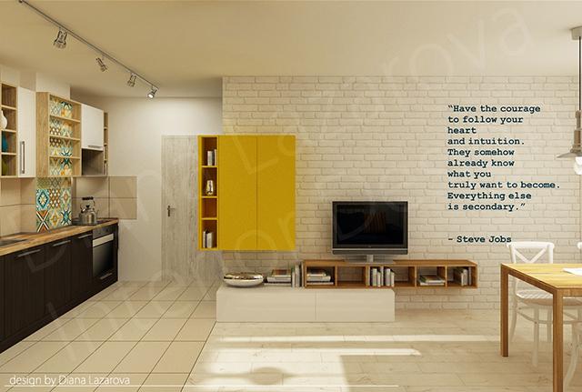 Ъглова жълта етажерка на стената