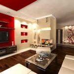 Червено на стената и тавана