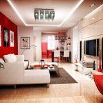 Червена стена зад дивана