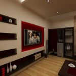 Червена декорация край телевизора