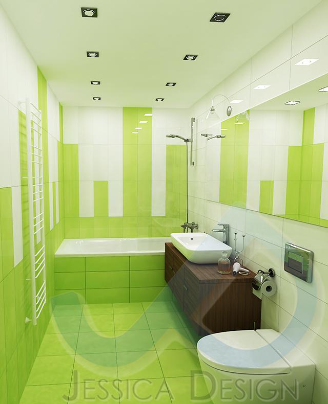 Бяло и зелено за свежест и настроение в банята
