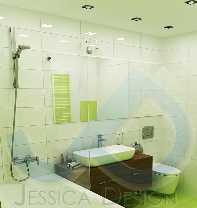 Малка баня в зелено и бяло