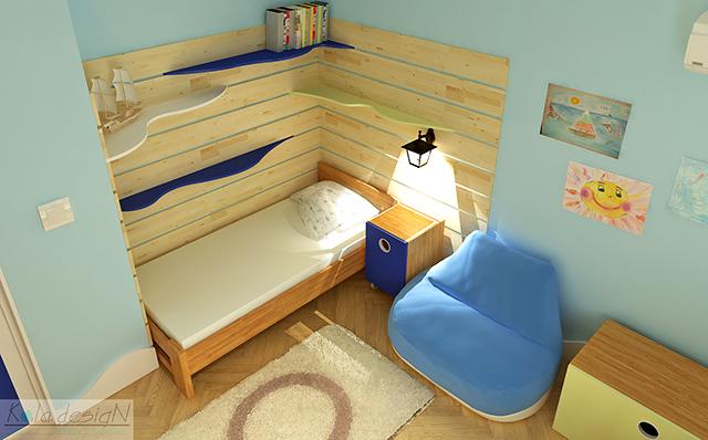Облицовка от дърво на стената край леглото