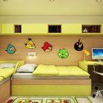 Детската стая е решена в слънчево жълто