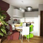 Дневна зона с кухня в бяло на фон от стени в бордо