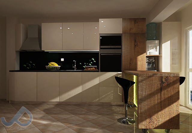Кухня в млечно бяло и бар-плот с основа от закалено стъкло и Led осветление - ъглово разположен