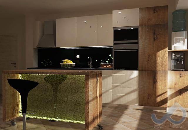 Кухня в млечно бяло и бар-плот с основа от закалено стъкло и Led осветление - разположен фронтално