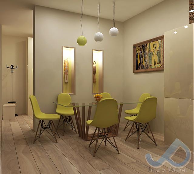 Дневна зона с декорация от камък и кухня в пясъчен цвят