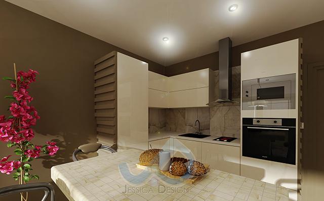 Дневна зона с кухня, решени в бяло на фон от кафяви стени
