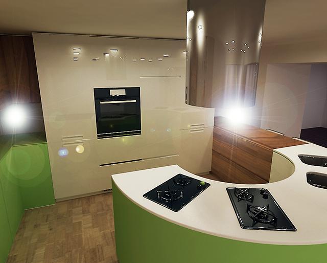 Кухня с овален остров в зелено