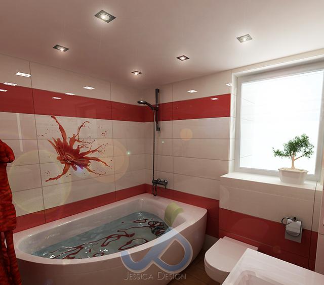 Баня с вана, решена в червено и бяло