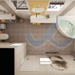 Проект на баня в пастелни тонове и слънчево жълто за акцент