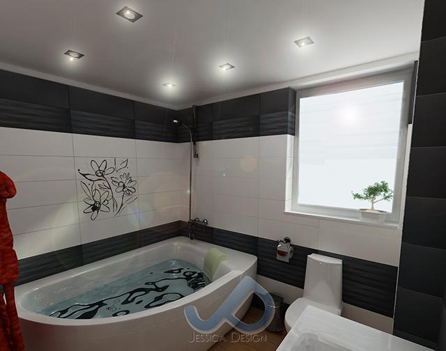 Проект на баня в сиво и бяло с червени акценти