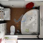 План на баня с вана, решена в сиво и бяло с червени акценти