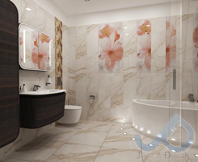Проект на баня с вана и флорални мотиви