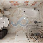 План на баня с флорални мотиви и вана