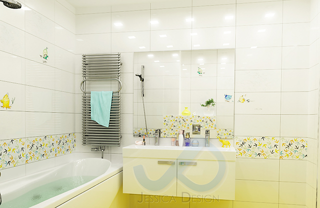 Детска баня с вана и декор с пиленца - зона мивка с огледало