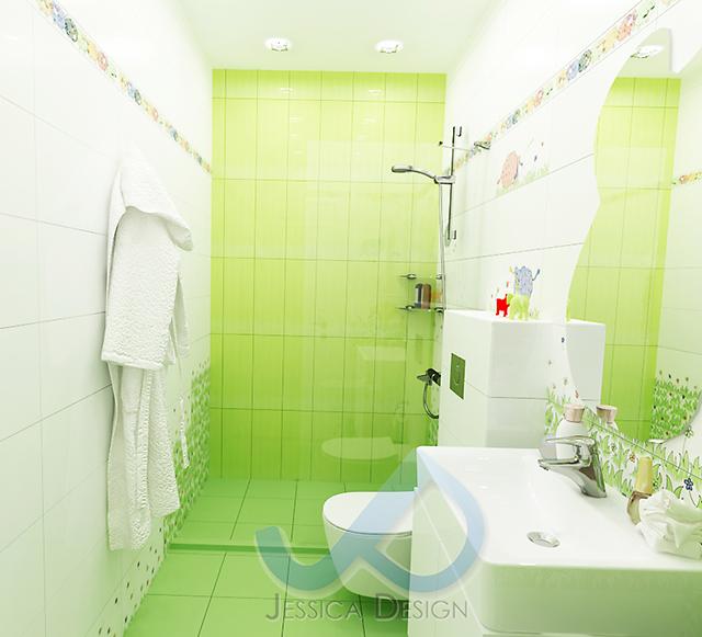 Интериорен проект на детска баня в бяло и зелено, и декорация с цветя и овце