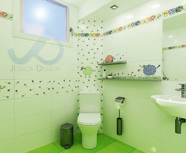 Детска баня с душ-зона и декор с овце - зона с WC