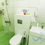Интериорен проект на детска баня в бяло и зелено, и декорация с цветя и овце - зона с WC