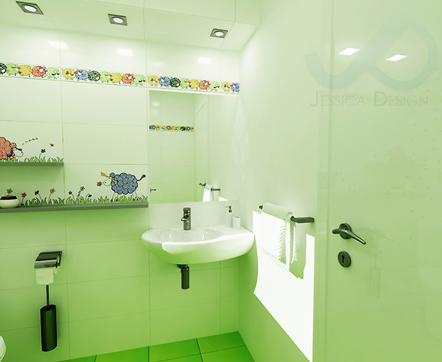 Детска баня с душ-зона и декор с овце - мивка с огледало