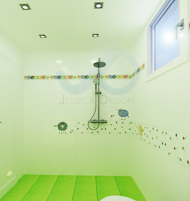 Детска баня с душ-зона и декор с овце