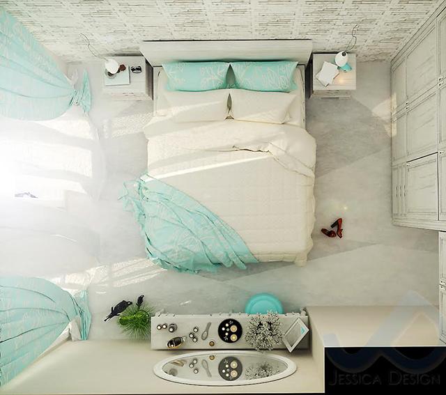 Вариант на спалнята с бели декоративни тухлички на стената и кръгло огледало на тоалетката