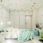 Вариант на спалнята с бели декоративни тухлички на стената и кръгло огледало
