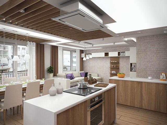 Кухня с островен аспиратор
