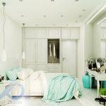 Вариант на спалнята с бели стени (латекс)