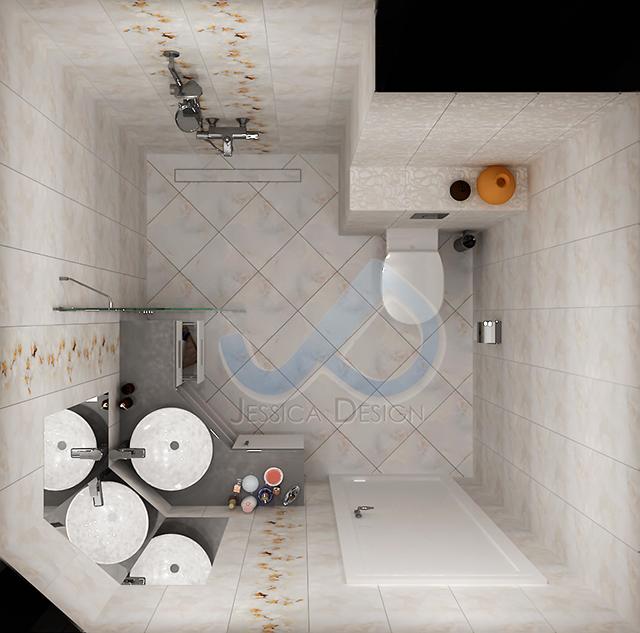 План на баня с ъглов шкаф и кът за душ