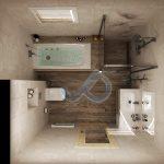 План на банята с вана и душ-кабина