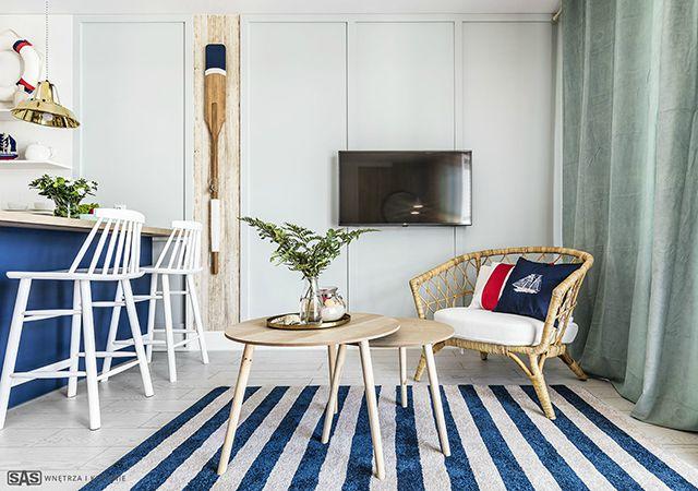Интериор с морски мотиви на малък апартамент
