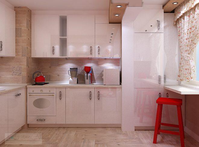 Кухня с присъединен балкон и ярки акценти