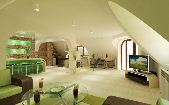 Интериорен дизайн на таванско помещение с площ 63.24 кв.м