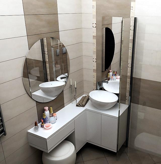 Интериорен проект на малка стандартна баня в панелен блок