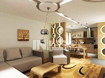 Интериорен дизайн на дневна зона с площ 40 кв.м