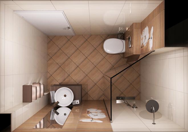 Интериорен проект на баня 5 кв.м