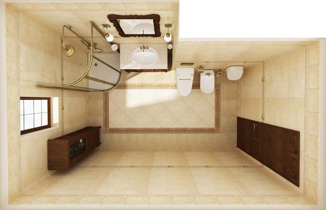 Интериорен проект на баня 8 кв.м